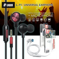 LIGER Handsfree headset earphone L-11 METAL stereo & bass Universal
