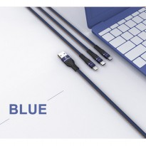 LIGER L-130 Kabel Data Fast Charging Denim USB - MICRO / TYPE-C / IPHONE