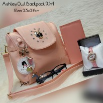 Termurah! TAS FASHION/TAS MURAH/TAS PAKETAN/PAKET 4IN1 ASHELY OWL BACKPACK