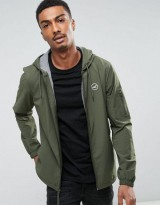 Hollister Windbreaker Jacket Jersey Lined in Olive