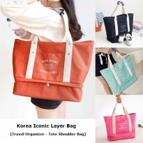 Termurah! KOREA ICONIC LAYER BAG / TRAVEL ORGANIZER TOTE / TAS SHOULDER
