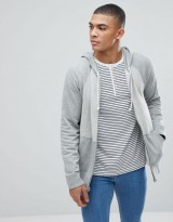 Abercrombie & Fitch Full Zip Hoodie Contrast Sleeve in Greys