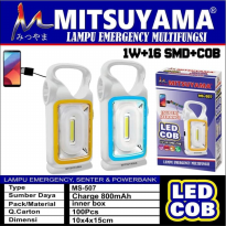 Lampu Emergency Senter Powerbank LED COB Multifungsi Mitsuyama