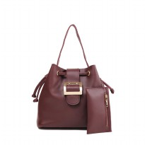 London Berry by HUER - Jessy Bucket Bag With Mini Wallet Wine