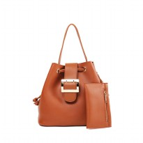 London Berry by HUER - Jessy Bucket Bag With Mini Wallet Camel