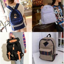 CANVAS BACKPACK Korean Style Tas Ransel Wanita Bahan Kanvas Import Murah
