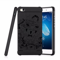 Cocose Case Drop Resistance Armor Carved Dragon Silikon Back Case For Xiaomi Redmi 4A - Black