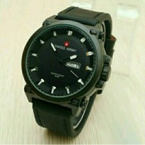 Jam Tangan Pria Swiss Army Day Date Leather Black 01(gshock/rolex/guess/digitec)