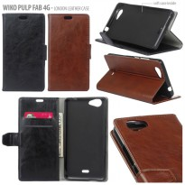 Wiko Pulp Fab 4G London Style Leather Case Casing Cover