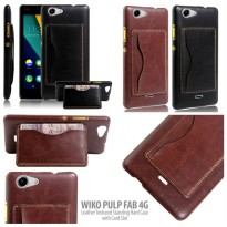 Wiko Pulp Fab 4G Leather Textured Standing Hard Case with Card Slot Casing Cover