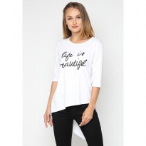 Mobile Power Ladies 3/4 Sleeve T-shirt Text Printing - White A103