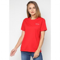 Mobile Power Ladies Short Sleeve T-Shirt Embroidery Text - Red A121
