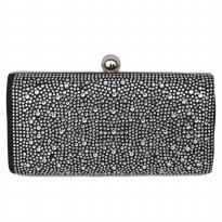 Tas Dompet Pesta Clutch Premium Crystal With Long Chain