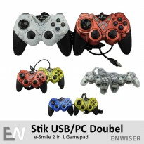 Gamepad Stik USB Komputer PC Playstation PS2 PS3 Turbo Set 2in1