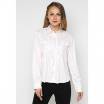 Mobile Power Ladies Basic Long Sleeve Striped Shirt - White Pink I8374C
