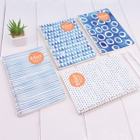 Blues Fresh Life Spiral Ruled Notebook A5 Buku Tulis Catatan Kertas Putih Bergaris Sampul Lucu Murah
