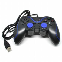 VZTEC USB Double Shock Controller Game Pad Joystick Model (VZ-GA6008) - Blue