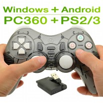 Wireless Gamepad Fungsi Ganda 2.4G untuk PS2 PS3 PC - Gray