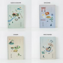 Japanese Dinner Spiral Ruled Notebook B5 Buku Tulis Catatan Kertas Putih Bergaris Sampul Lucu Murah