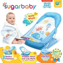 Sugar Baby Deluxe Baby Bather Wolly Whale Blue Alas Dudukan Mandi Bayi