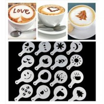 16set cetakan kopi coffee printing cappuccino latte mold model barista