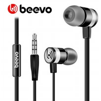 Beevo Earphones Clear Bass Sports with Microphone - EM330 / EM130 - Black Kabel