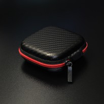 Knowledge Zenith Case Earphone Kulit - Black/Red