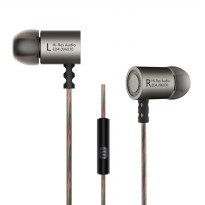 Knowledge Zenith HiFi Metal In-ear Earphones Heavy Bass 9.6mm Driver with Mic - KZ-ED4 - Gun Metallic