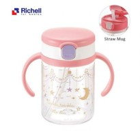 Richell AQ Straw Mug 200ml - Pink
