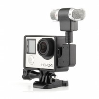 Sinofer Mini Stereo Mikrofon dan Standard Frame Case USB 3.5mm untuk GoPro Hero 3/3+/4 - Black