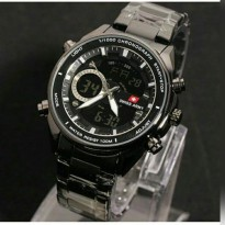 Swiss Army Dual Time Jam Tangan Pria - Stainless Steel - SA 7917 Full Black