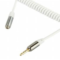 Aux Audio Coil Cable 3.5mm Male to Female - White