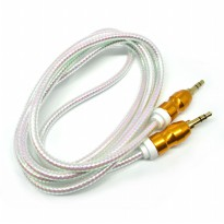 Kabel Audio Aux 3.5mm Gold Plated 2 Meter - White