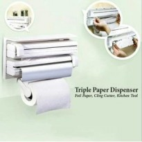 triple kitchen dispenser wrap plastic tissue holder tempat tisu