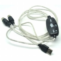 Kabel Konverter PC ke Keyboard USB MIDI 5-Pin - Black