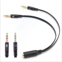 Splitter Audio Jack 3.5mm Female ke Dual 3.5mm Male (Mic+Hear) - Black