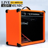 Live Music TG-40R Electric Guitar Amplifier Reverberation 3 Port 40W with Music Player & Remote Control - Black/Orange