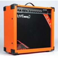 Live Music TG-60W Electric Guitar Amplifier Reverberation 3 Port 60W - Black/Orange