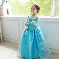 Baju Gaun Dress Frozen Anak