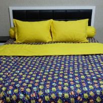 Sleep Buddy Set Sprei dan Bed Cover Yellow Goodnight Owl CVC Queen Size
