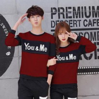 Baju Couple Lengan Panjang / Kaos pasangan / Kopel You & Me Maroon