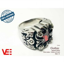 VeE Cincin Pria Import Gothic Ring Square Ruby