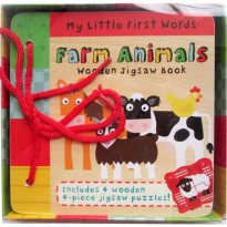 [HelloPandaBook] My Little First Words FARM ANIMALS Wooden Jigsaw Book includes 4 wooden 4-piece ji
