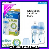 (Blue) Dr Brown's / Browns Wide Neck Options Bottle 2x270ml Special Ed