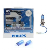 Philips Crystal Vision H3 12V 55W 4300K free WB T10 (Lampu Mobil)