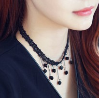 Kalung Choker Tato Black Crystal Drop Punk Necklace