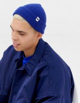 COLLUSION fisherman rib beanie in blue
