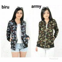 Jaket Wanita Army / Jacket Loreng Katun Fit to ML