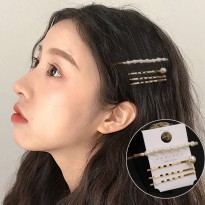 Hairpin Korean Sweet Word Clip Pearl C - Gold