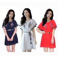Elsi Dress Sifon Gaya Korea Variasi Renda